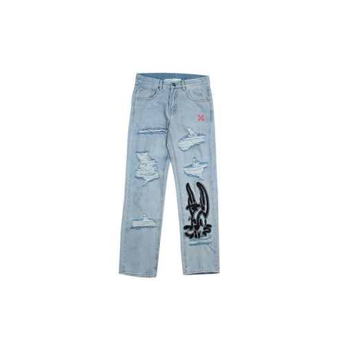 2019 OFF-WHITE Rabbit Pattern Hole Jeans Light Blue