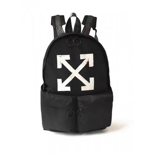19SS OFF-WHITE White & Red Logo Backpack Black