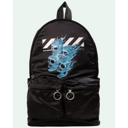 19SS OFF-WHITE Blue Skull Flame Backpack Black