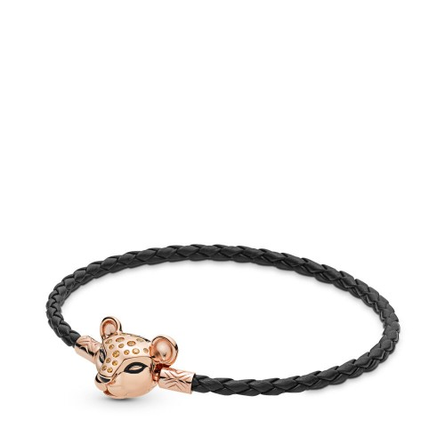 Sparkling Lion Princess, Woven Leather Bracelet, Pandora Rose™