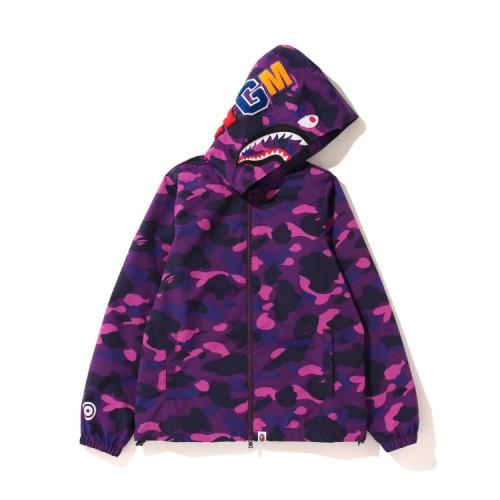 Bape Color Camo Shark zip hoodie Purple