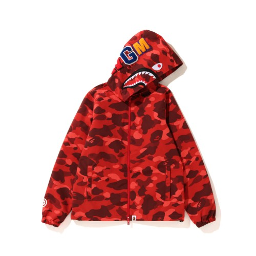 Bape Color Camo Shark zip hoodie Bright Red