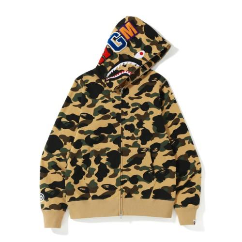 Bape 1st Camo Shark zip hoodie Misted Yellow