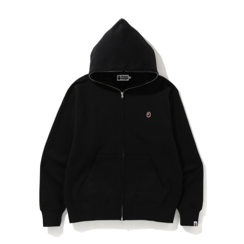 Bape Relaxed One Point zip hoodie Black
