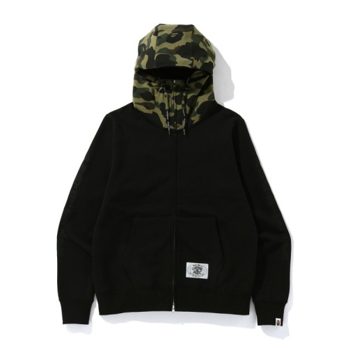Bape A Bathing Ape embroidery zip hoodie Army Green