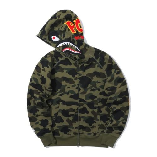 Bape 1st Camo Shark full zip hoodie Moss Green