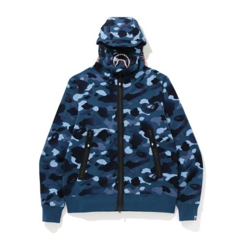 Bape Gradation Camo Shark mask zip hoodie Blue