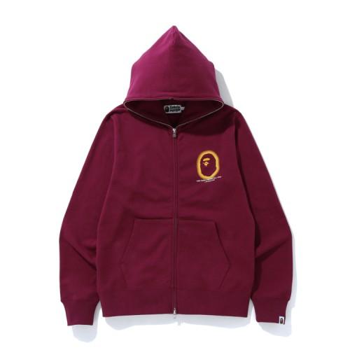 Bape Logo full zip hoodie Burgundy