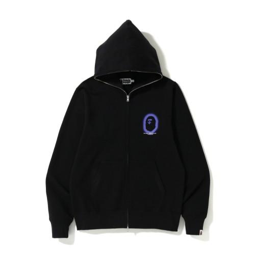 Bape Logo full zip hoodie Black