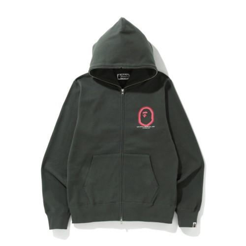 Bape Logo full zip hoodie Dark Grey