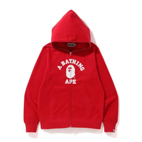 Bape College full zip hoodie Bright Red
