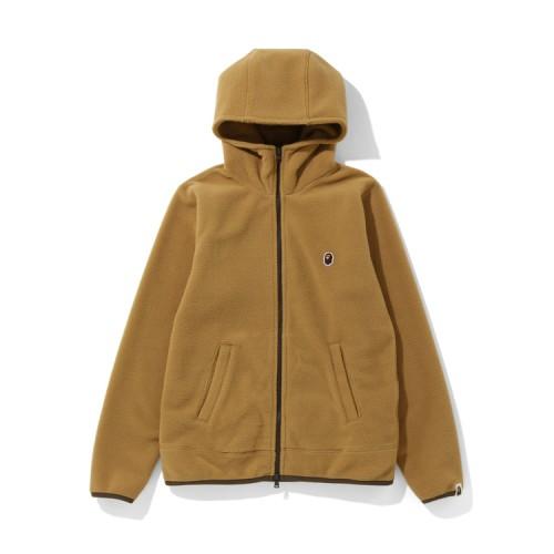 Bape Fleece one point zip hoodie Beige