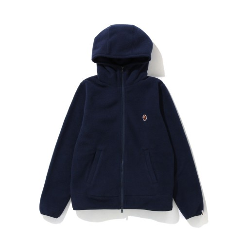 Bape Fleece one point zip hoodie Navy Blue