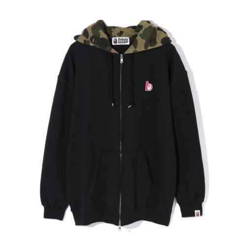 Bape Ape Head patch zip hoodie Black