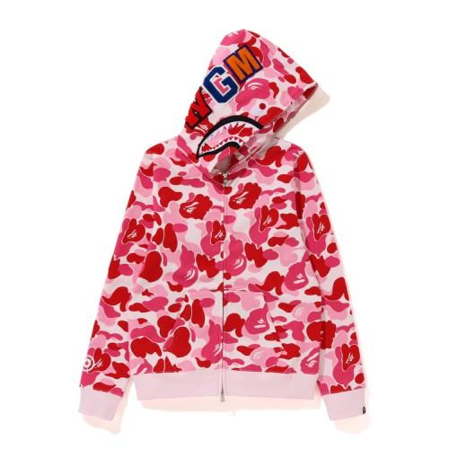 Bape ABC Shark full zip hoodie Carmine Rose