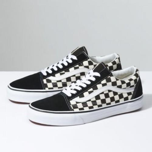 Vans Women Shoes Primary Check Old Skool Black/White