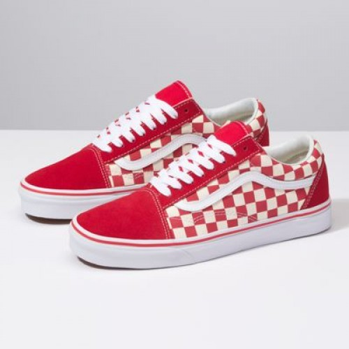 Vans Men Shoes Primary Check Old Skool Racing Red/Off White