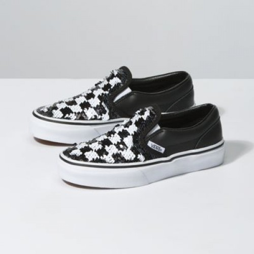 Vans Kids Shoes Kids Flipping Sequins Slip-On Checkerboard/Black