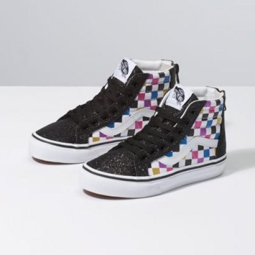 Vans Kids Shoes Kids Glitter Checkerboard Sk8-Hi Zip Black/True White