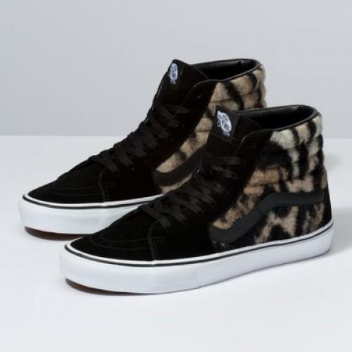 Vans Women Shoes Leopard & Tiger Sk8-Hi Black/True White