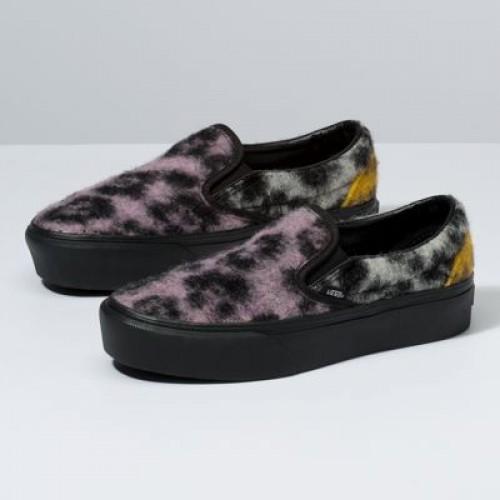 Vans Women Shoes Mix Leopard Slip-On Platform Multi/Black