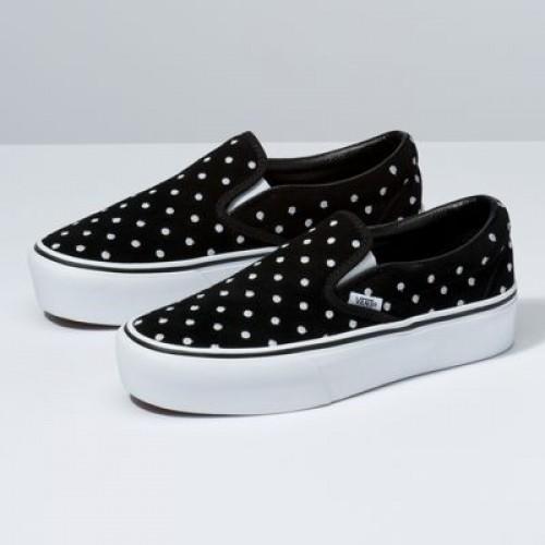 Vans Women Shoes Suede Polka Dot Slip-On Platform Black/True White