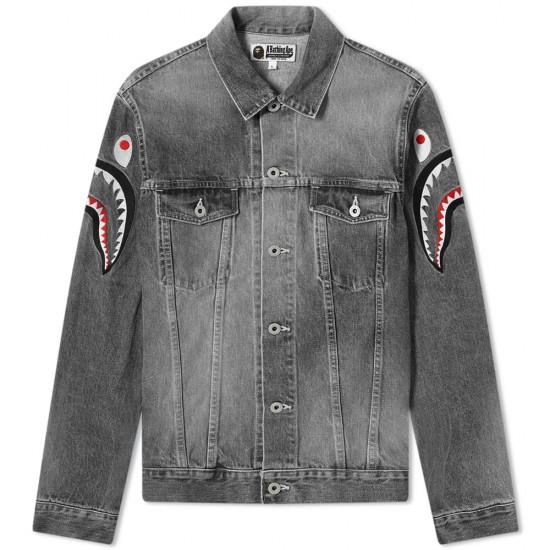 Bape Shark Embroidery Denim Jacket