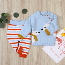 Mimixiong 100% Cotton Baby Knitted 2pc Clothing Sweater Pants Set 82W535