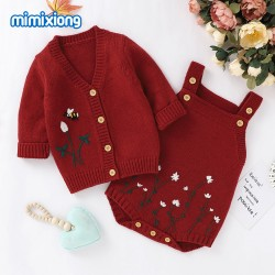 Mimixiong Baby Knitted Romper Coat 2pc Clothing Set 82W639-641
