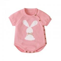 Mimixiong Baby Knitetd Short Sleeve Romper 82W502