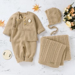 Mimixiong Baby Knitted Romper Coat Blanket Hat 4pcs Clothing Set 82W716-717-718-719