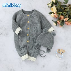 Mimixiong Baby Knitted Romper Hat 2pc Clothing Set 82W720-723
