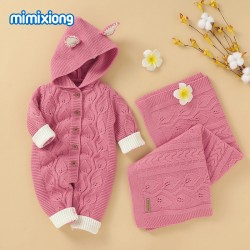 Mimixiong Baby Knitted Romper Blanket 2pc Clothing Set 82W729-730