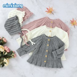 Mimixiong Baby Knitted Coat Hat 2pc Clothing Set 82W812-815