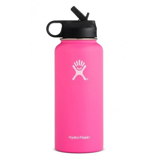 32 oz Hydro Flask Wide Mouth w/ Straw Lid Flamingo