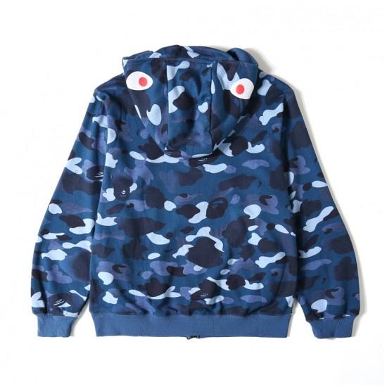 Bape AW Camo Shark Unisex Hoodie Blue