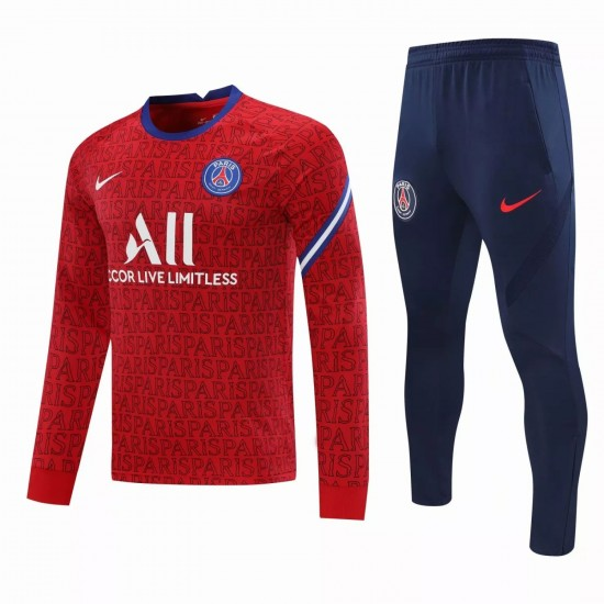 PSG Training Technical Soccer Tracksuit Crew Neck Red 2020 2021