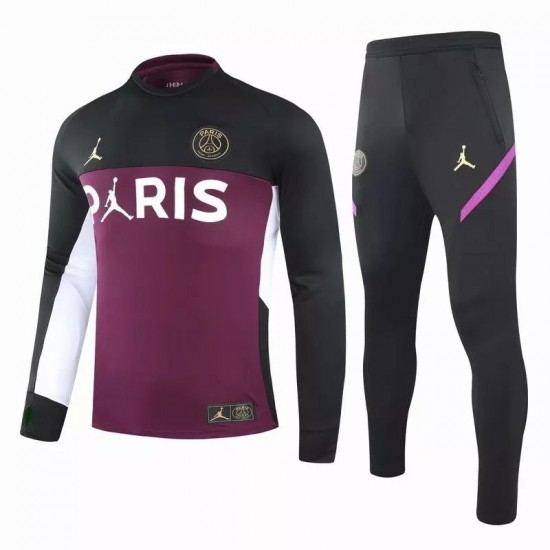 PSG X Jordan Training Technical Soccer Tracksuit Purple Black 2020 2021
