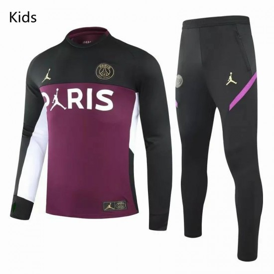 PSG X Jordan Training Technical Soccer Tracksuit Purple Black Kids 2020 2021