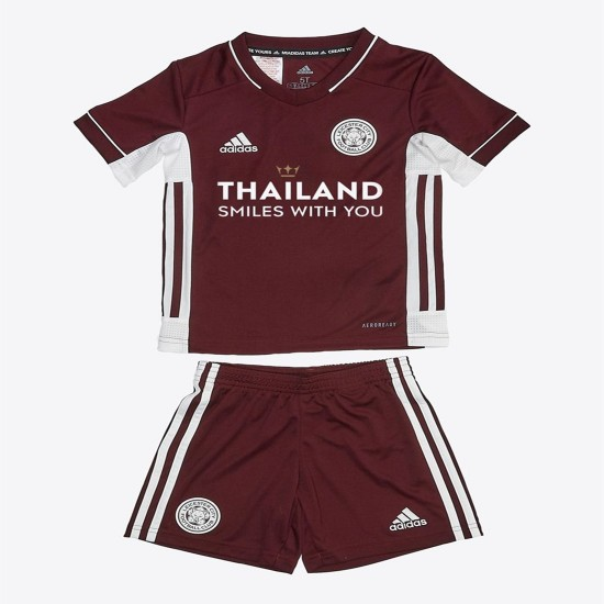 Leicester City Maroon Away Kids Kit 2020 2021