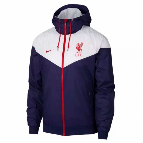 Liverpool All Weather Windrunner Jacket White Navy 2020 2021