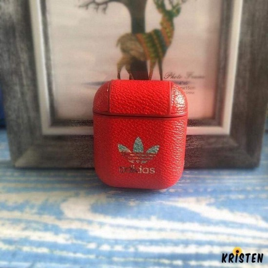 Adidas Original Style Classic Logo Leather Protective Shockproof Case for Apple Airpods 1 & 2