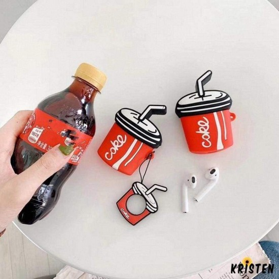 3d Cute Coke Cola Summer Silicone Protective Shockproof Case for Apple Airpods 1 & 2