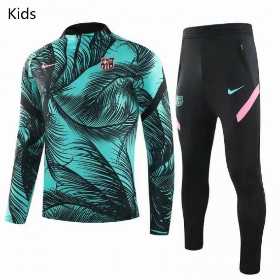 FC Barcelona Soccer Training Technical Tracksuit Green Kids 2020 2021