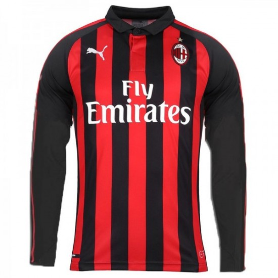 Sales Ac Milan Home Long Sleeve Jersey 2018 19 Up To 50 Off
