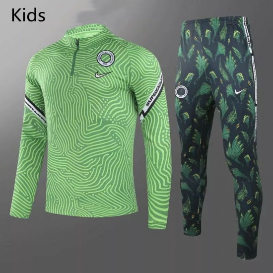 Nigeria Training Technical Soccer Tracksuit Green Kids 2020 2021