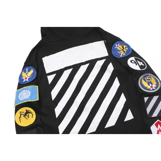 2020 New Arrivals OFF-WHITE Striped Armband Hoodie Black