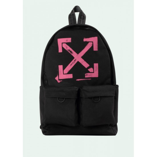 19SS OFF-WHITE White & Red Logo Backpack Black