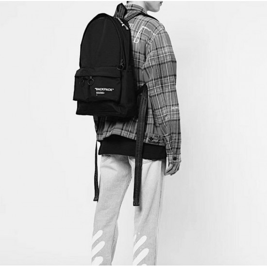 19SS OFF-WHITE Logo Backpack Black And Red
