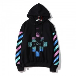 2020 Autumn OFF-WHITE Lightning Stripes Hoodie Black